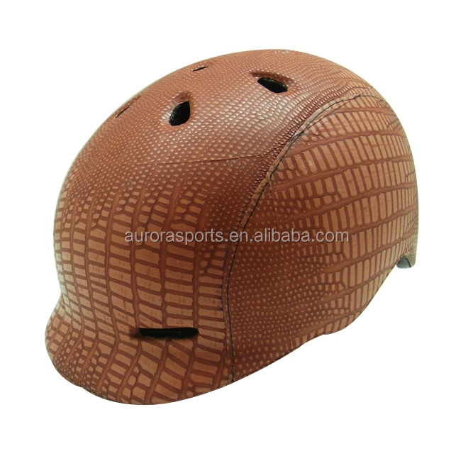 Elegant light weight leather bicycle helmet