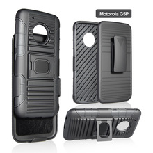 5 Functions in 1 cell phone case with Ring Kickstand and Belt Clip for Motorola G5 plus which can work with magnetic car mount