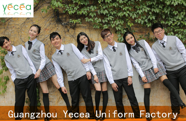 2016 latest design Korea Middle High school uniform for teenagers Vest sweater suit plaid skirt Customisation