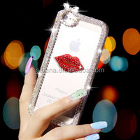 Bling bling bling cell phone case red lips diamond case for HTC ONE M7 M8 M9 cover