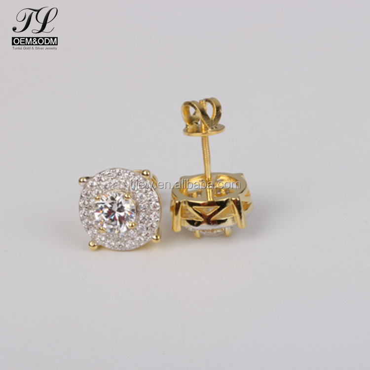 New design high end korean round stud paved cz gold jewelry