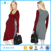 Autum soft two color long sleeve maternity dress