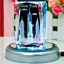Promotion 3d laser crystal statue of liberty souvenirs with led base in New York for home decoration