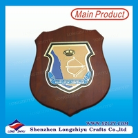 Wall Decorative Lion wooden shield with Metal Logo