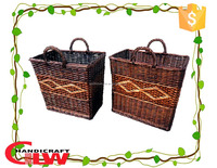 Eco-friendly hanging willow wicker laundry basket,wicker laundry bag with handle