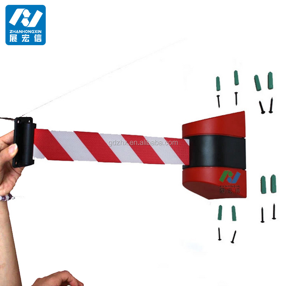 Warehouse wall mount retractable barrier crowd tape retractable belt crowd wall