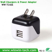 Double USB Square universal battery charger with usb output