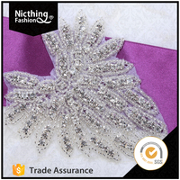 Bridal sew on bling stone crystal and rhinestone applique NRA159