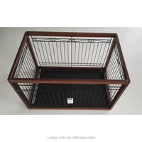 Eco-friendly wooden dog cage with iron wire