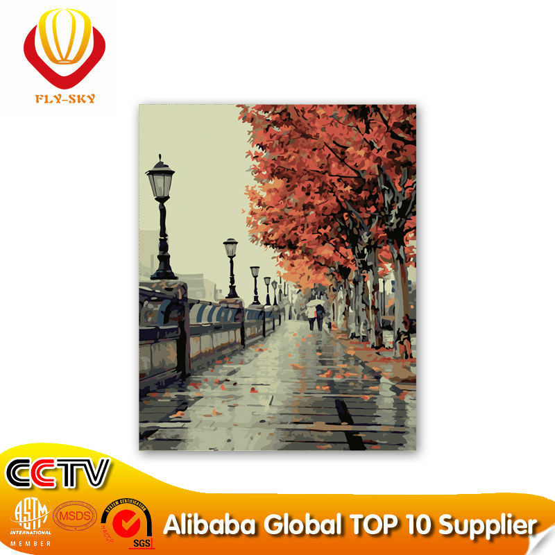 hot selling 2015 the beautiful street beautiful maple tree abstract paint by numbers