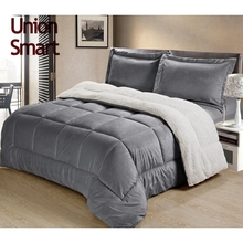 Super soft plush comforter set bedding set reversing to Sherpa