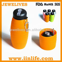 silicon collapsible water bottle with various colors and capacity