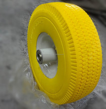 top quality 10 inch yellow PU foam hand cart wheels