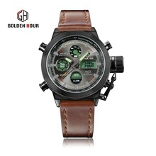Golden Hour Brand Watches Men Fashion Vintage Leather Strap Waterproof Luxury Military Digital Analog Watch Relojes Dual Time