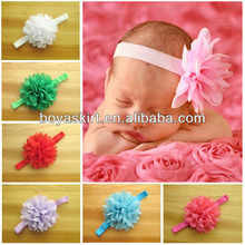 Wholesale EN and US the children's Chiffon headdress baby girl flower headbands 16 color elastic hairband Infant hair accessorie