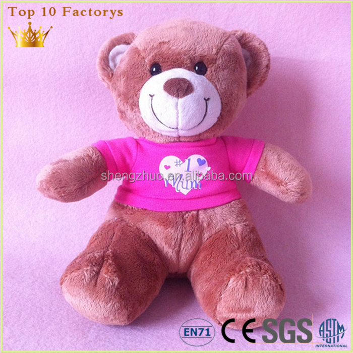 Pink embroidery heart US tested wholesale teddy bear with clothing