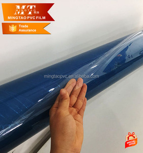 Sexy blue 0.5mm plastic filmTransparent PVC Plastic Super clear film for Plastic produce and bag
