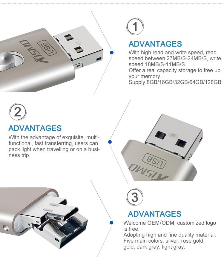 Liga de zinco de baixo custo iDiskk 16 GB para iphone usb memory stick