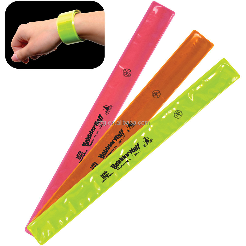 Reflective Snap Pop Armband Ankleband Tape Band for Bike Cycling or Backpack Strap Orange / Lime