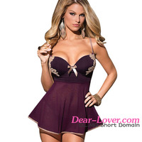 Dear-Lover 2 Pieces Microfiber and Mesh Girls Sexy Pic Baby Doll Lingerie