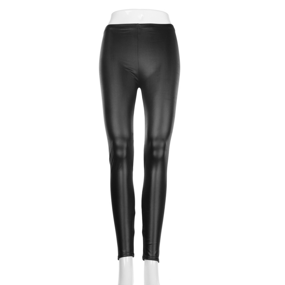 Fashion Style Tights Women Sexy Wet Look Shiny Faux Sex Ladies Leather Leggings Leather Pants Hot Girls Sexy Leather Leggings