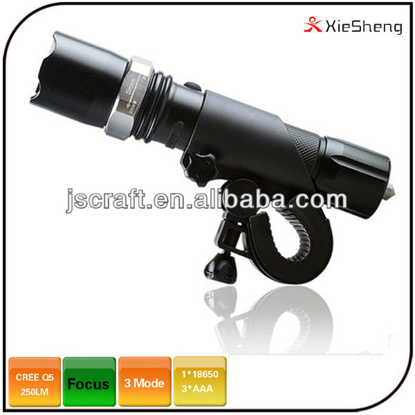 300 lumen <strong>CREE</strong> Q5 5 mode 18650 or AAA battery police zoom focus rechargeable car charger led flashlight torch