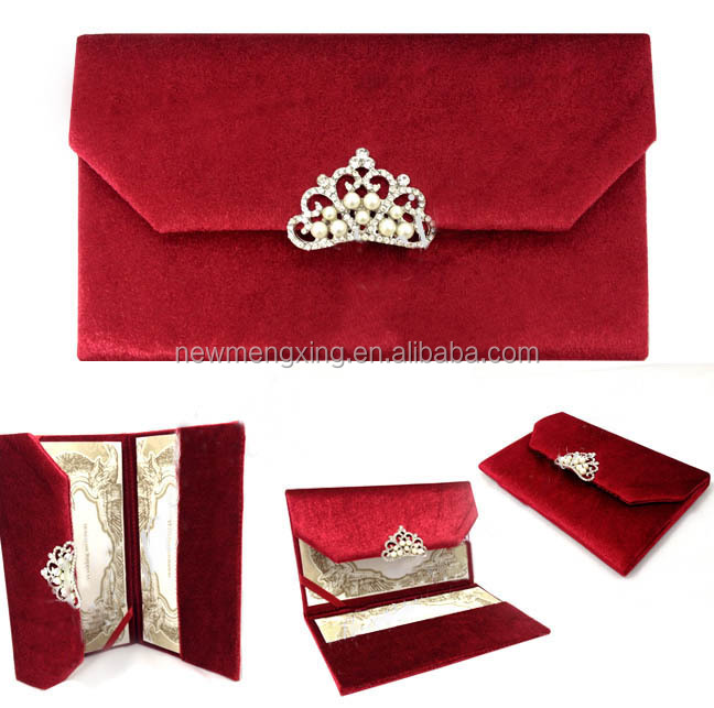 Luxury velet silk pocket folder wedding invitation card with brooch
