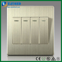 Silver Color Brushed Stainless Steel Four Gang Two Way Wall Electric Switch