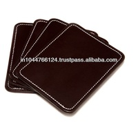 ADACS - 0041 brown leather mug coaster / custom drink coasters / glass table coasters