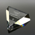 High quality laser cut crystal glass triangle prism paperweight for office use
