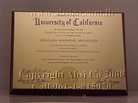 Engraved Brass Certificate / Award / Sign