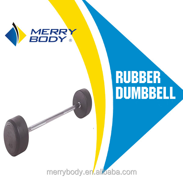 Deluxe round rubber barbell /fixed rubber dumbbell / hex rubber dumbbell
