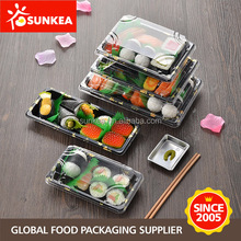 Disposable take out plastic sushi box with clear lid