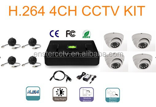 "H.264 4CH/D1 RealTime DVR with 4*Color 1/4"" CMOS 700TVL IP66 Metal IR Dome Camera."
