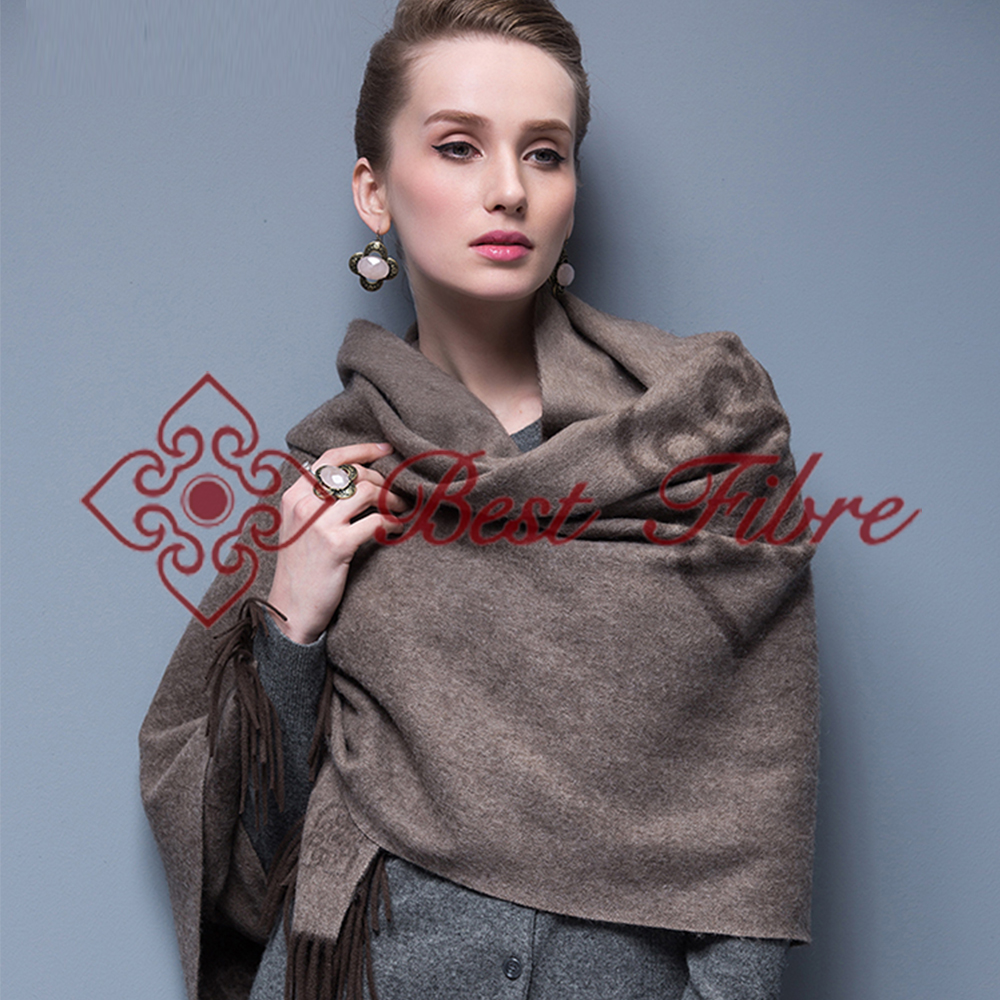 double jacquard long style pure Yak down worsted shawl