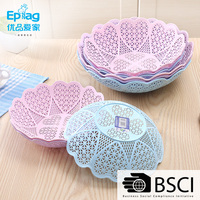 Top 10 save 5% free sample ecofriendly 6621 plastic Round Hollow Out Flower Snacks Plate Fruit Plate Plastic Fruit Bowl