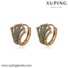 93394 creative design jewelry diamond hoop gemstone earring copper alloy material for making