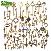 Manufacturer Custom Antique Bronze Keys Vintage Key shaped pendant DIY Pendant Bookmark Metal Charms Decorations