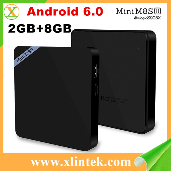Marshmallow tv box Mini M8SII android 6.0 Amlogic S905x 64bits 2GB/8GB Gigabit LAN WiFi Bluetooth 4.0 download cable set top box