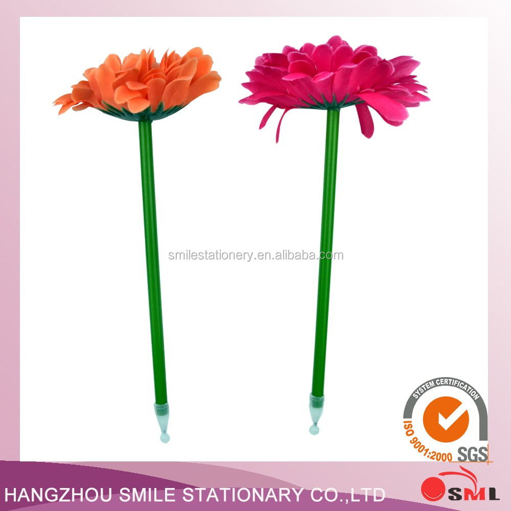 Plastic barrel wholesale beautiful Fabric flower ball pen