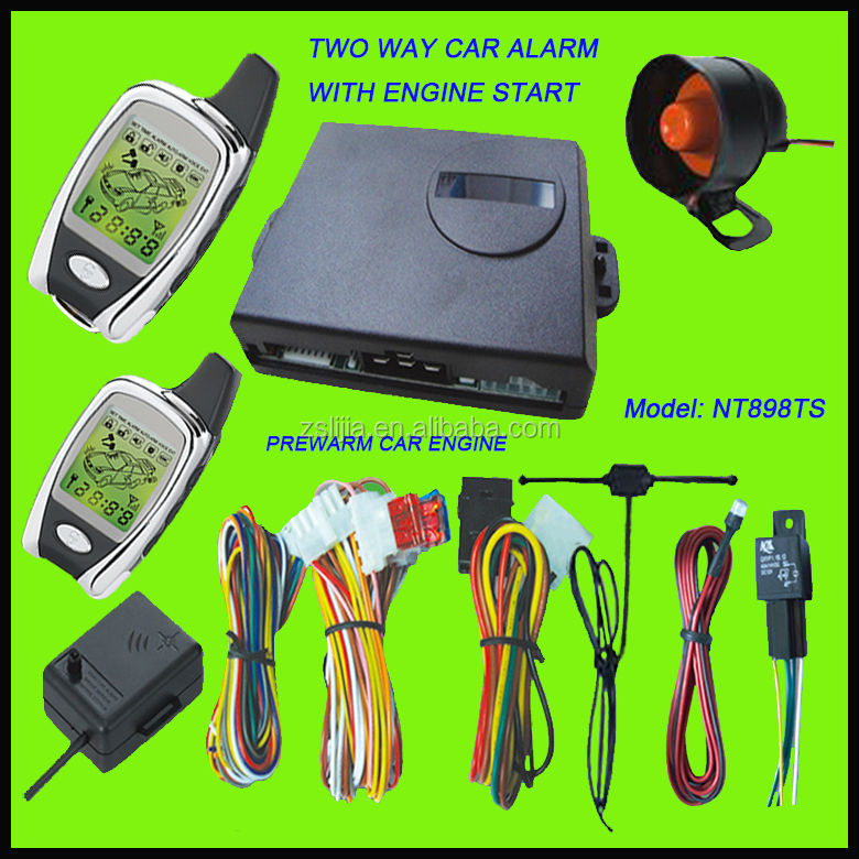 long range two way car alarm security system with remote starter