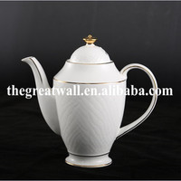 Hot selling 5pcs ceramic with gold rim, embossed pattern teaset, tea pot, coffee set