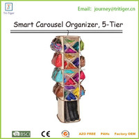 360 degree spin hanging smart carousel organizer with 5 tiers