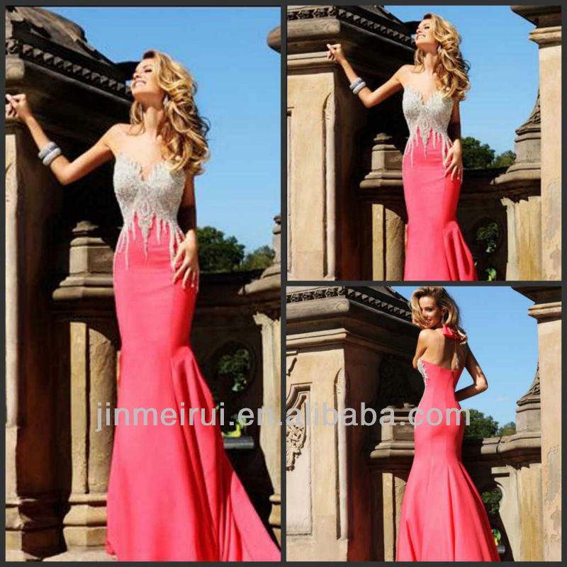 New arrivals 2014 Sexy V-neck Satin Heavy beaded Red Mermaid Prom Dress Evening DE184