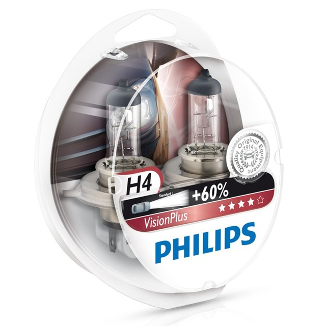 Genuine Philips Vision Plus H4 Halogen Bulbs (Twin) 12342VPS2 - Also available in H1 & H7