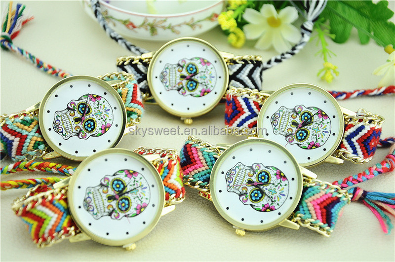 Skull watch face braided watches jewelry wholesale(SWTNSXR1105)
