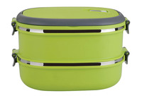 2014 HOT SALES STAINLESS STEEL PLASTIC FOOD CONTAINER,1/2/3 TIERS,GREEN MADE IN CHINA