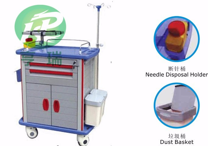Deluxe hospital ABS emergency trolley medical cart for sale