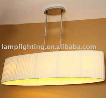 Contemporary Long Fabric Shade Pendant Lamp
