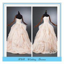 Light pink dress wedding Buying Ruffled Organza wedding dress from China bridal Dress Intricate layered Bridal gowns (YASA-5078)